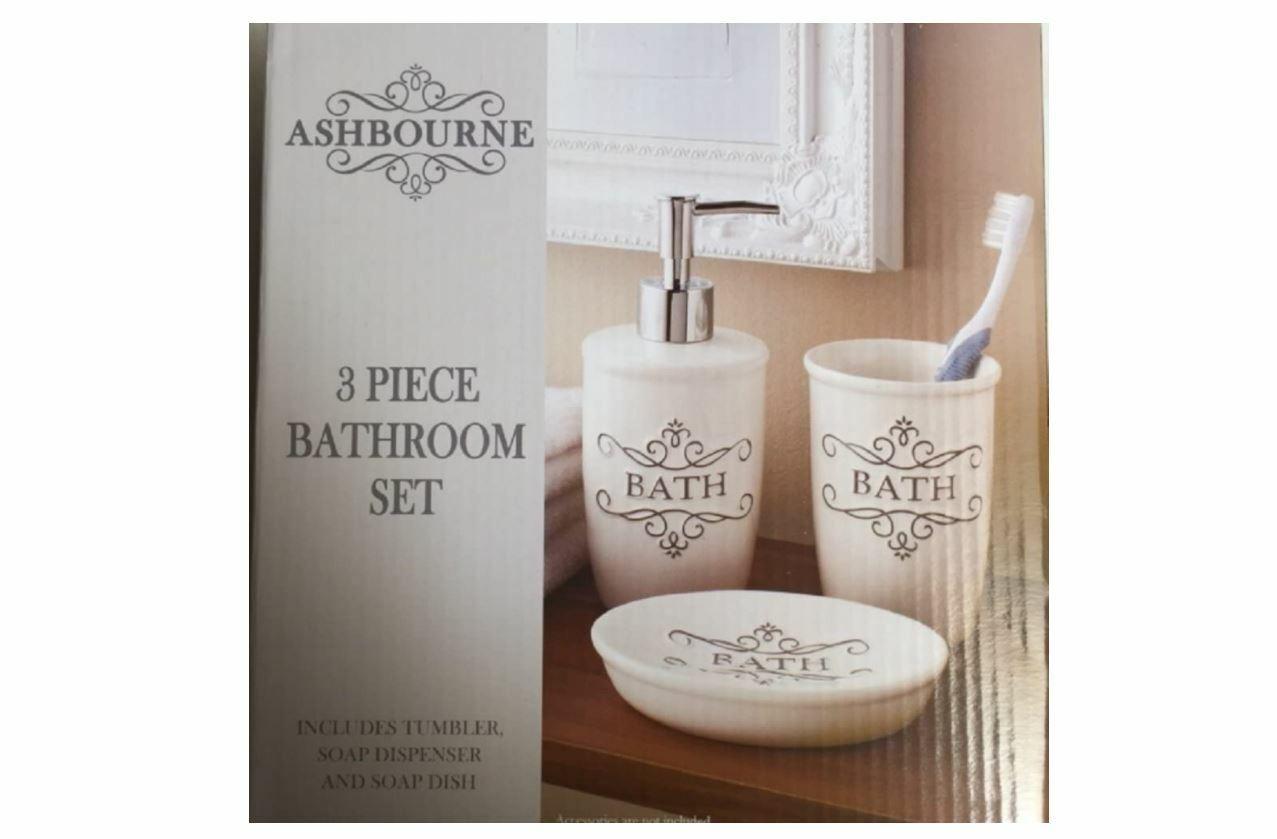 Bathroom Ashbourne Cream 3 Piece Soap Dispenser, Soap Dish & Tumbler Set