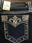 La Idol Designer Rhinestone Bling Pocket Jewel Ladies Skinny Jeans Sizes 0-11
