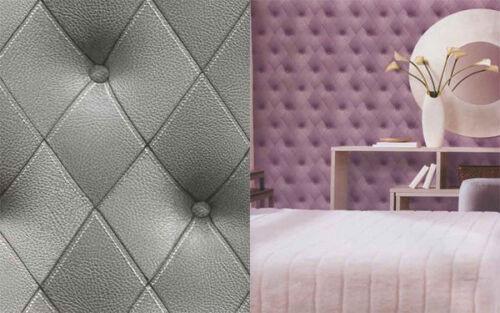 Galerie Illusions Caractéristique Papier Peint Cuir Tête de lit effet gris LL29571