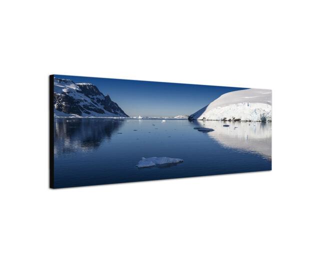 120x40cm Wandbild Leinwand Panorama Gletscher und Eisberge Antarktis Sinus Art