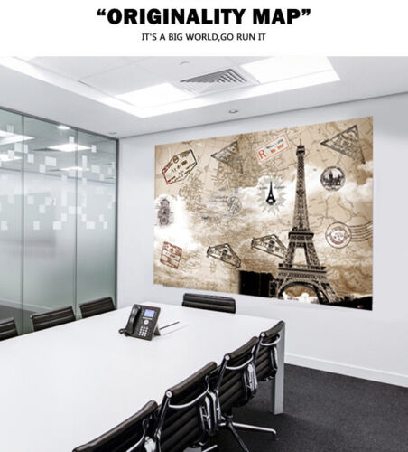 World Map Huge Large Poster Big Thin Canvas Wall Vintage Art Restore Custom A51