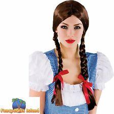 Ladies Brown Plaits Dorothy Wig Wizard Of Oz School Girl St Trinians World Book