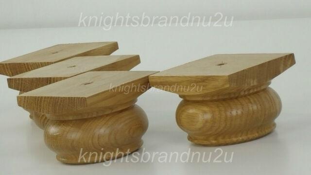 4x SOLID OAK BUN FEET WOODEN FURNITURE LEGS SOFAS CHAIRS STOOLS SELF FIX