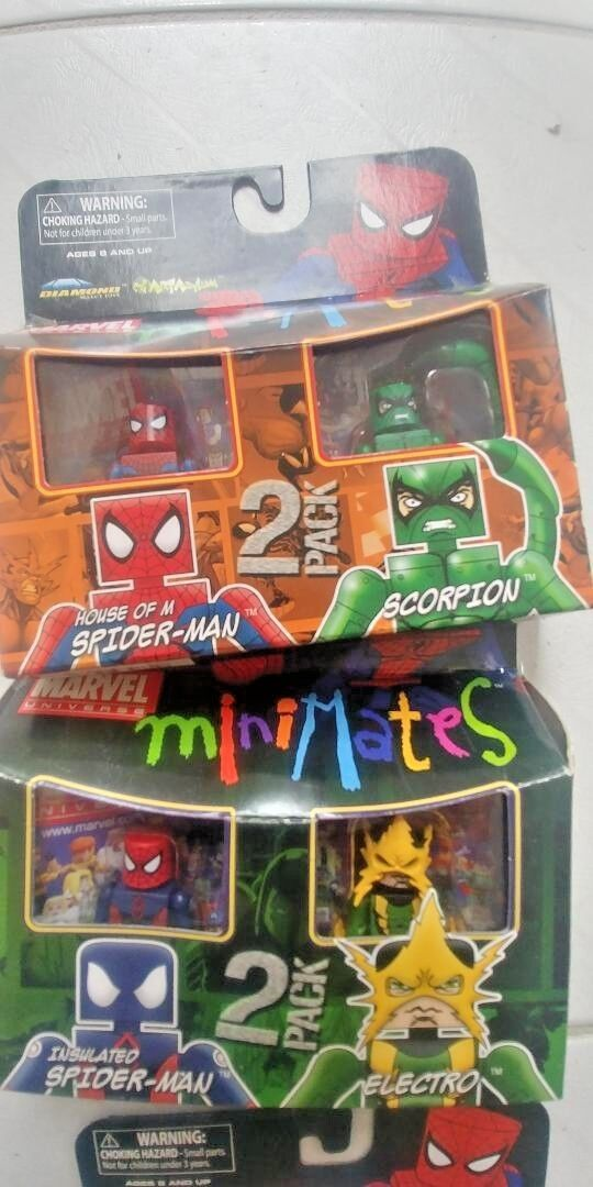 Marvel Minimates Spiderman Scorpion Electro MIB (2) paquetes de 2