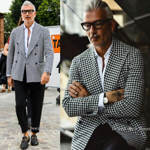Men 3 Piece Houndstooth Dogstooth Blazer Suit Checkered Dinner Prom Tuxedos Suit