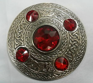 Scottish-Kilt-Fly-Plaid-Brooch-Red-Stone-Silver-Antique-4-034-Celtic-Brooch-5-Stone
