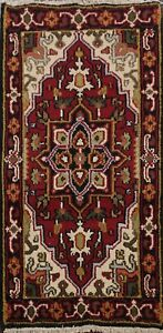 Geometric-RUST-BLACK-Heriz-Oriental-Area-Rug-Wool-Hand-Knotted-2x4-ft-Carpet