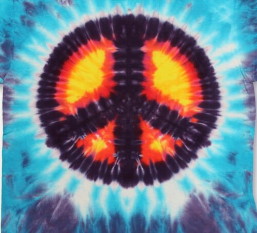 T022 Tie Dyed Peace Symbol T-Shirt Psychedelic Hippy