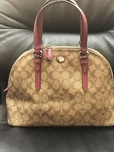 Coach-New-York-handbag-Brown-Leather-Logo-Print-used-Comes-W-Free-Small-Purse
