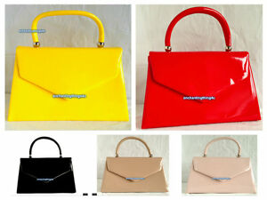 Image Is Loading New Neon Yellow Red Black Patent Evening