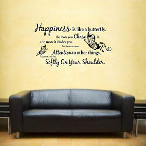 Happiness Is Like A Butterfly Quote Vinyl Wall Art Sticker Decal Ebay