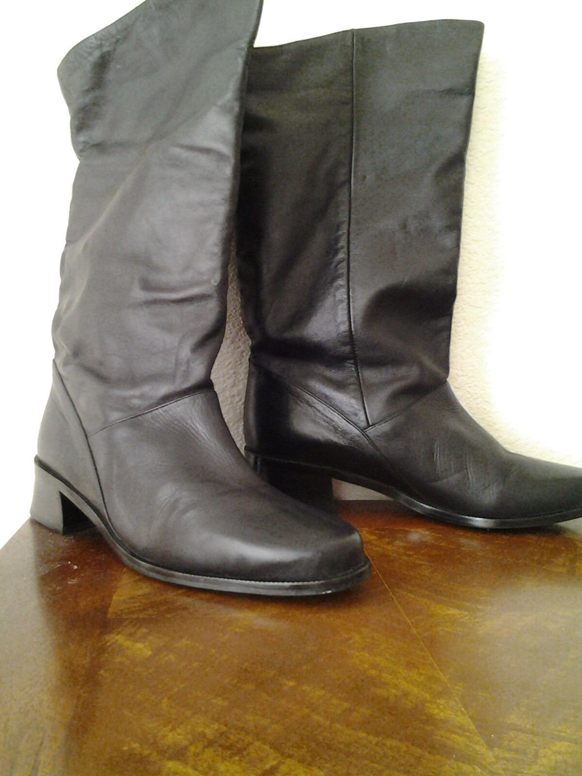 "Marcon ""Shelly"" women's leather mid-calf boots pull-on  Black 8.5 M Brazil"