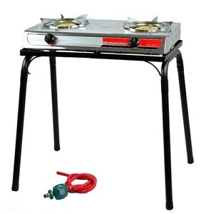 Portable-Propane-Gas-Gasoline-lpg-Stove-Stand-Dual-Burners-Cook-Stand-Stainless