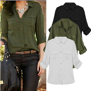 Autumn-Women-Button-Down-Collar-Long-Sleeve-Basic-Shirt-Blouse-Top-Tee-Plus-Size