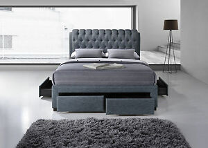 New-4-039-6-Double-Grey-Fabric-4-drawer-Storage-Bed-Buttoned-headboard
