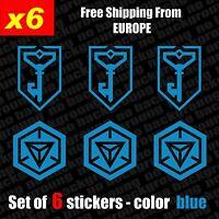 Set of 6 INGRESS Resistance & Logo Vinyl Decal Sticker Aufkleber, Blue, Die-Cut