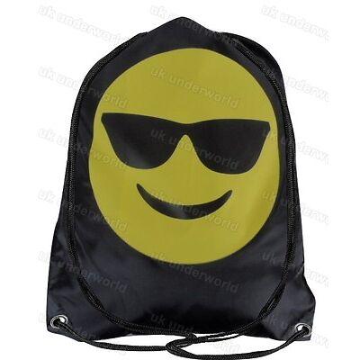 Emoji Drawstring Gym Bag Swim Bag School PE Kit Sports Kids Smiley Face Emotions
