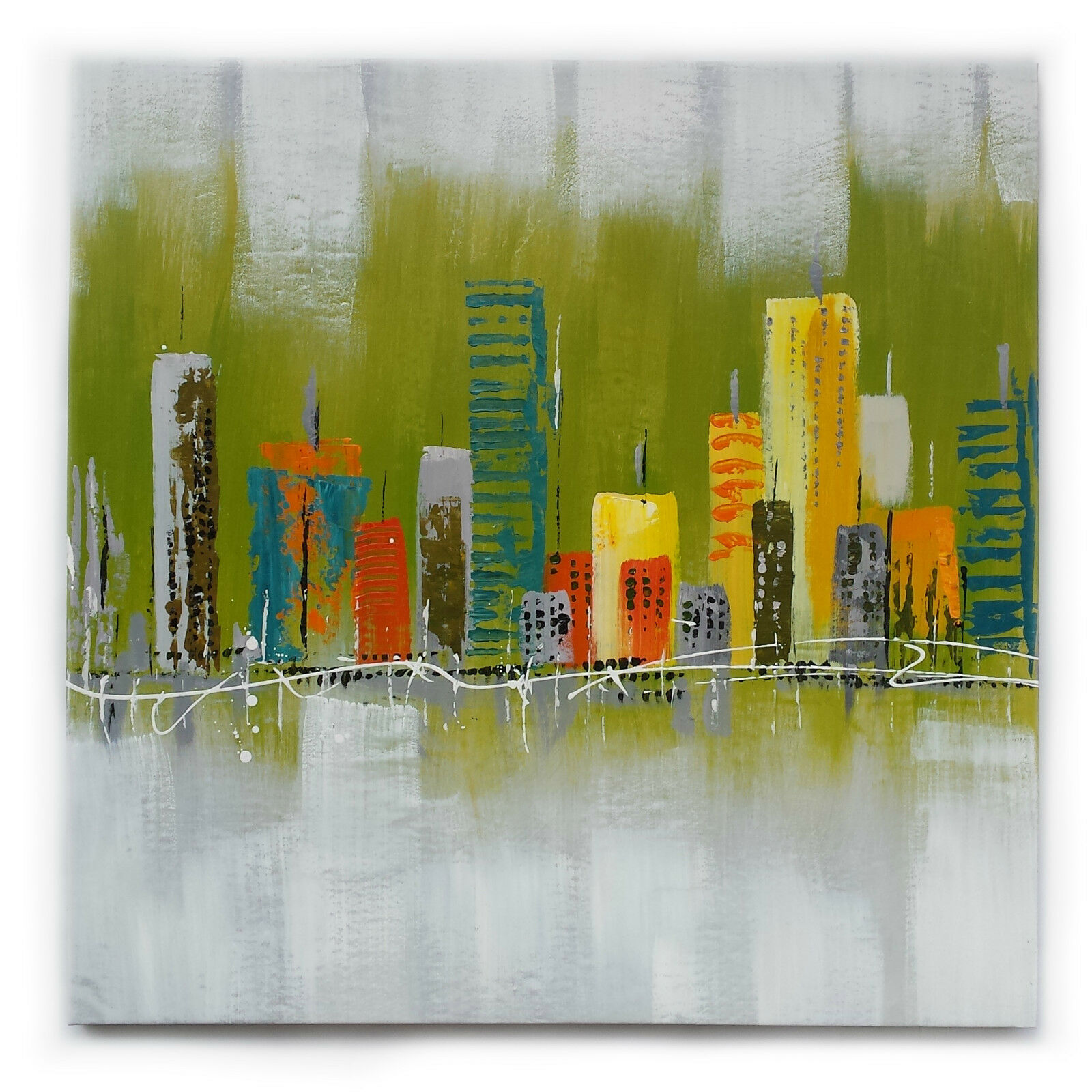 Dipinto Olio su Tela - 80x80 cm - Moderno - Quadro Telaio Città Paesaggio