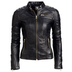 04cf9c822cc Women's Black Slim Fit Motorcycle Biker Bomber Leather Jacket | eBay