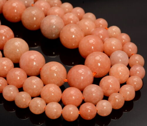 A259 Orange Peach Calcite Gemstone Grd Aaa Round 6mm 8mm 10mm 12mm Loose Beads