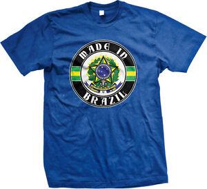 Made In Brazil Born From Crest Shield Brazilian Flag Colors BRA Am Men's T-Shirt