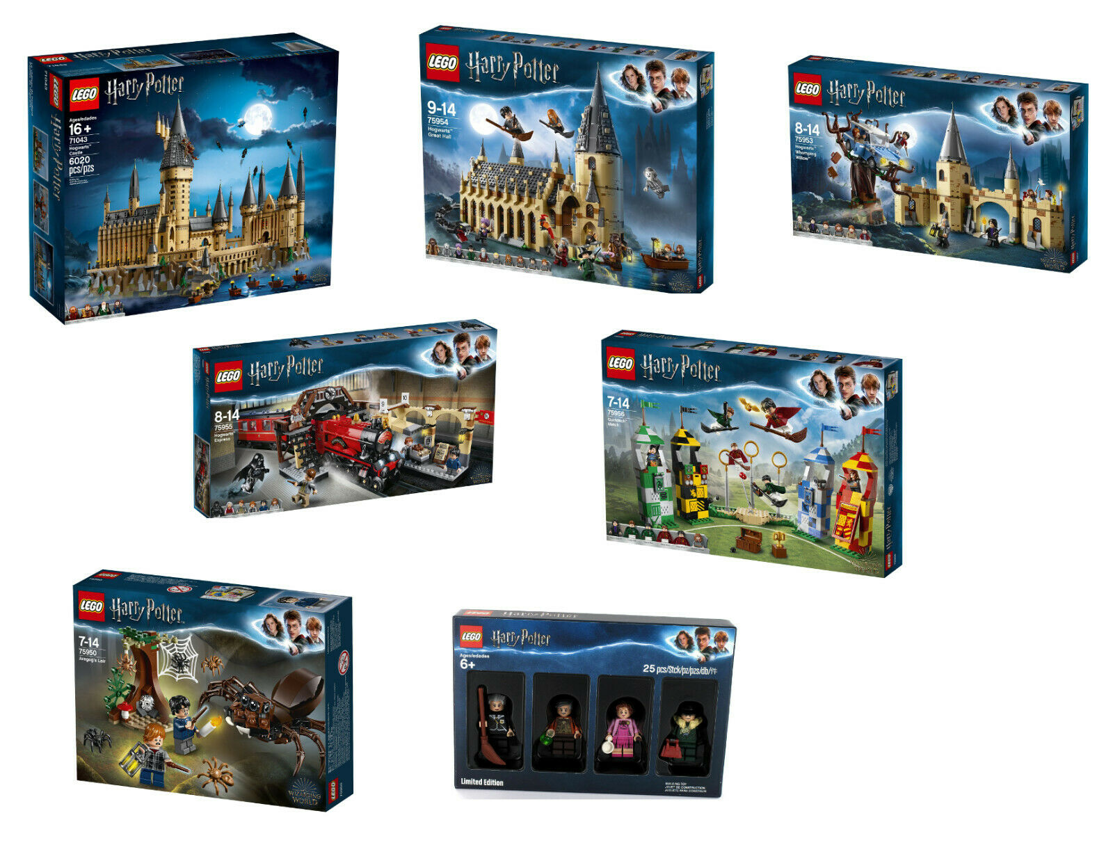 Lego Harry Potter 7er set 71043+75954+75953+75956+75950+75955+5005254, nuevo