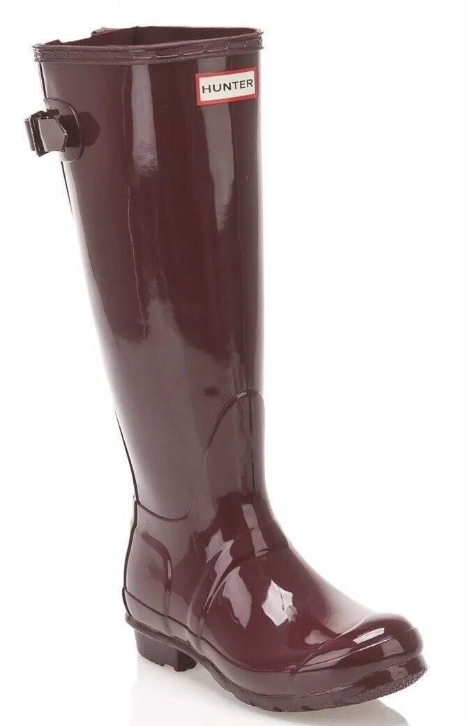Hunter Burgundy 'Original Tall' Back Adjustable Burgundy Hunter Glossy Rain Stivali Size 6 /37EU 9a27d7