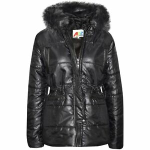 Girls Kids Metallic Shiny Puffer Jacket with Detachable Fur Collar Warmth Winter Outerwear