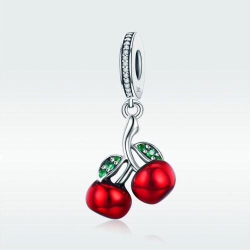 Argent Sterling 925 Summer agate rouge cerise Zircon Charme Pour Bracelet Collier Chaîne