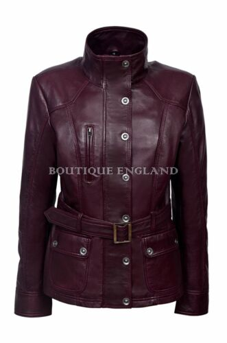 New Ladies 1160 Cherry Slim Fit Soft Leather Jacket Casual Military Collar Rock