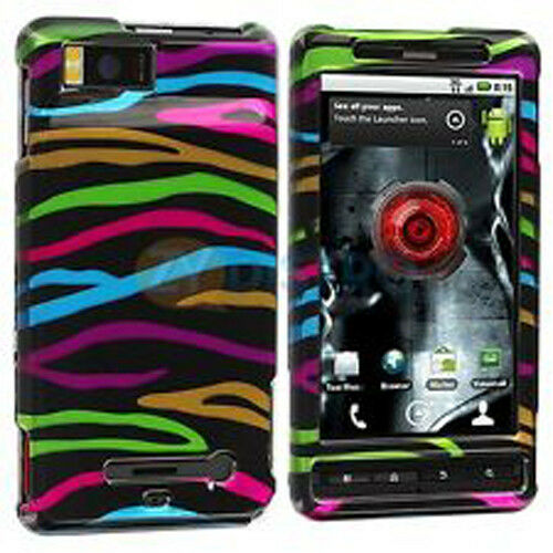 For Motorola Droid X X2 Hard Protector Case Snap on Phone Cover Colorful Zebra