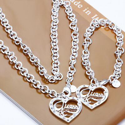2013 New Silver Set Lady/Men925 Silver Set Silver Bracelet Necklace Earring Ring