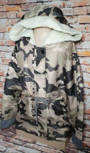 BNWT Girls Size 14 Miss Who Brand Beige Camo Print Sherpa Lined Hooded Coat