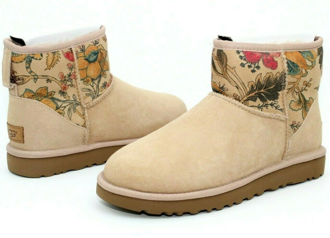 0676092c212 UGG Classic Mini II Floral Driftwood Suede Sheepskin Boots Size US 8-10  Rare!