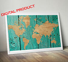 Wood and paper handmade WORLD MAP printable art  (DIGITAL)  five star quality
