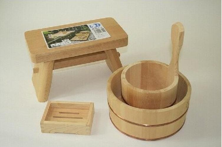 Hinoki Wood Bath Stool Chair OKE Soap Stand 4 Items 1 Set Onsen Tools Japan Made