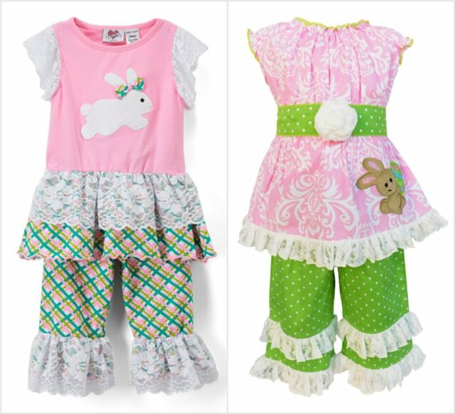 NEW Easter Bunny Rabbit Girls Pink Ruffle Tunic Shirt Leggings Outfit Set