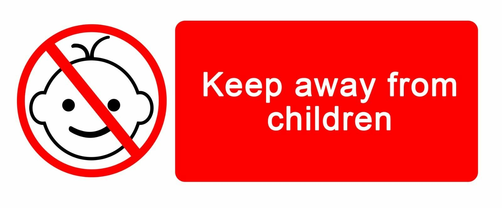 Warning - Keep Away From Children - Self Adhesive Label 100mm X ...