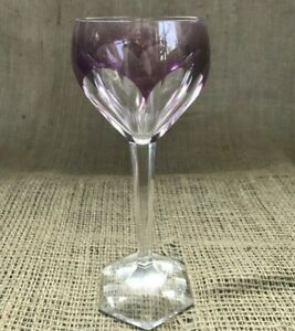 Vintage-Val-St-Lambert-Crystal-Purple-Color-Block-Cut-to-Clear-Wine-Glass