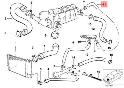 Genuine BMW E34 E36 Cabrio Compact Cooling System Water Hose OEM 11531739558