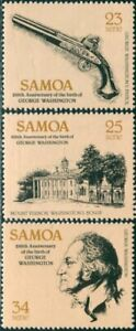 Samoa-1982-SG612-614-George-Washington-birth-set-MNH