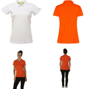 Regatta-Womens-Ladies-Maverik-Wicking-Quick-Dry-Active-Polo-Shirt-White-Orange
