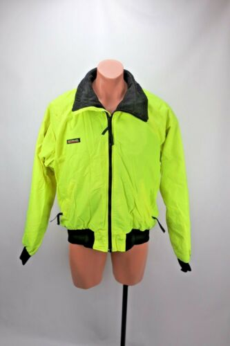Vtg Mens Columbia NEON YELLOW Jacket Fleece lined