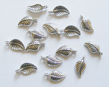 25 Metal Antique Silver Leaf Charms - 15mm x 7.5mm