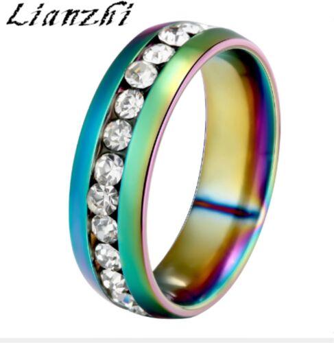 NEW Men//Women sapphire Stainless Steel Wedding Ring Titanium Engagement Band//YHY
