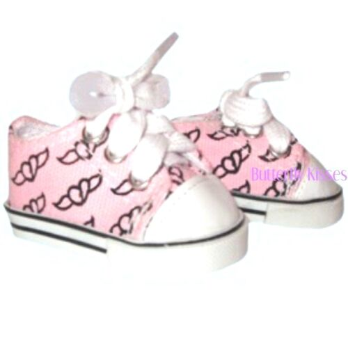 Pink Angel Wings /& Hearts Sneakers 18 in Doll Clothes Fits  American Girl