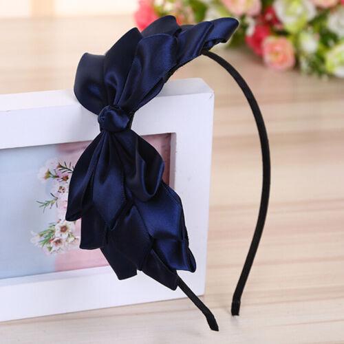 Details about  /Ladies Big Flower Bow Thin-Edges Hair Bands Headband Fabric Hair Head Prom Tiara