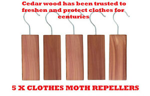 5-ANTI-MOTH-HANGERS-CEDAR-WOOD-WARDROBE-FRESH-ODOUR-CLOTHES-DETERRENT-REPELLENT
