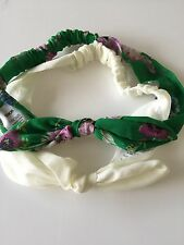 Women ASOS Green White Floral Bunny Ears Wire Bow Party Hair Head Band Headband