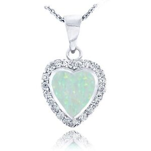 Sterling Silver Created White Opal & CZ Heart Necklace